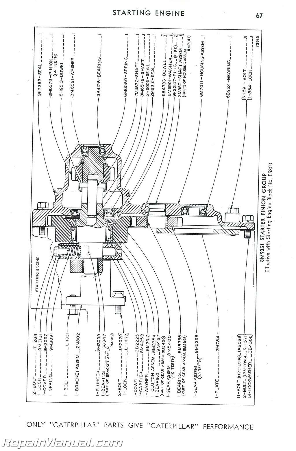 Caterpillar D6 Crawler 74 Inch 44A6857-44A13071Parts Manual