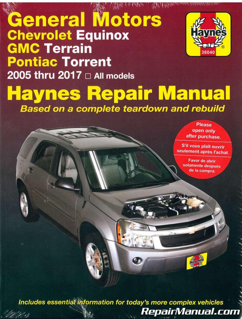 hight resolution of chevrolet equinox gmc terrain pontiac torrent 2005 2017 haynes repair manual