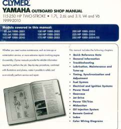clymer yamaha 115 250 hp two stroke outboards 1999 2010 boat repair manual [ 1024 x 1193 Pixel ]
