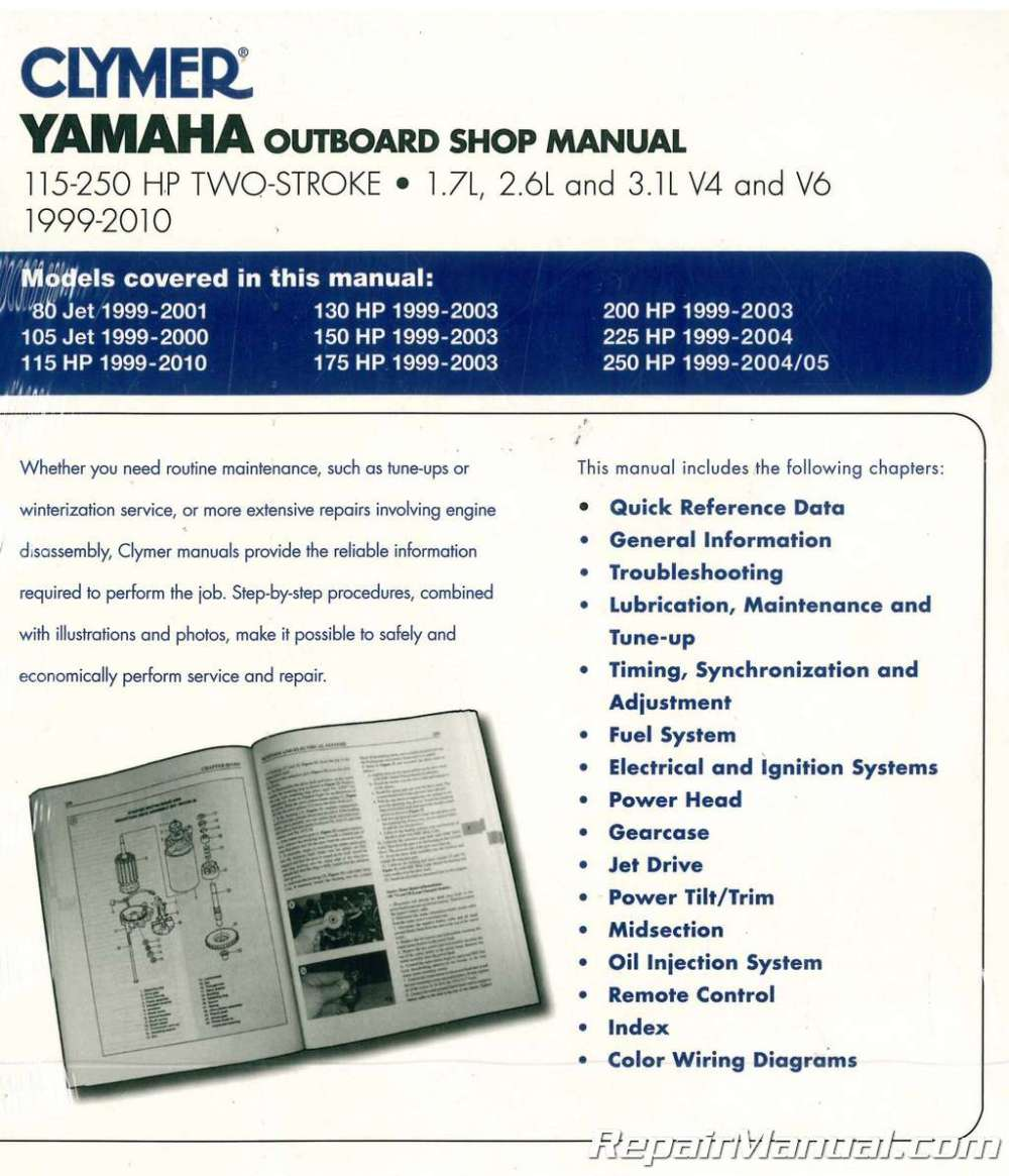 medium resolution of clymer yamaha 115 250 hp two stroke outboards 1999 2010 boat repair manual