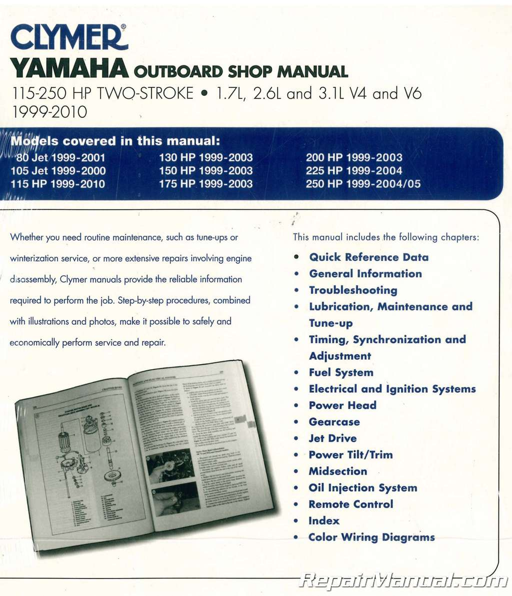 hight resolution of clymer yamaha 115 250 hp two stroke outboards 1999 2010 boat repair manual