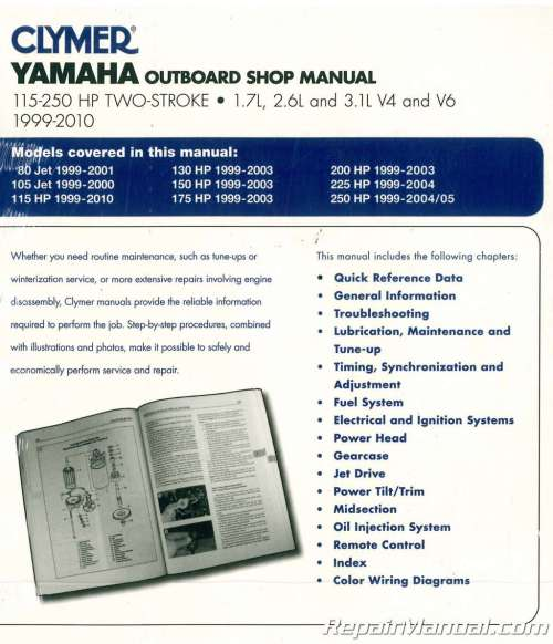 small resolution of clymer yamaha 115 250 hp two stroke outboards 1999 2010 boat repair manual