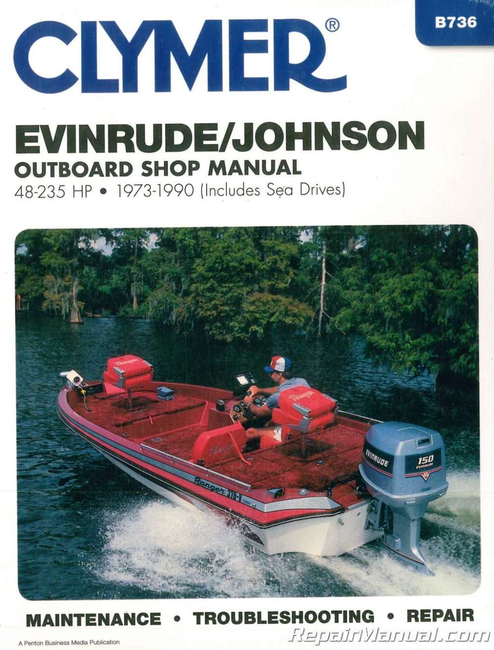 medium resolution of evinrude johnson 48 235 hp 1973 1990 outboard boat repair manual sea drive omc v4 engine diagram
