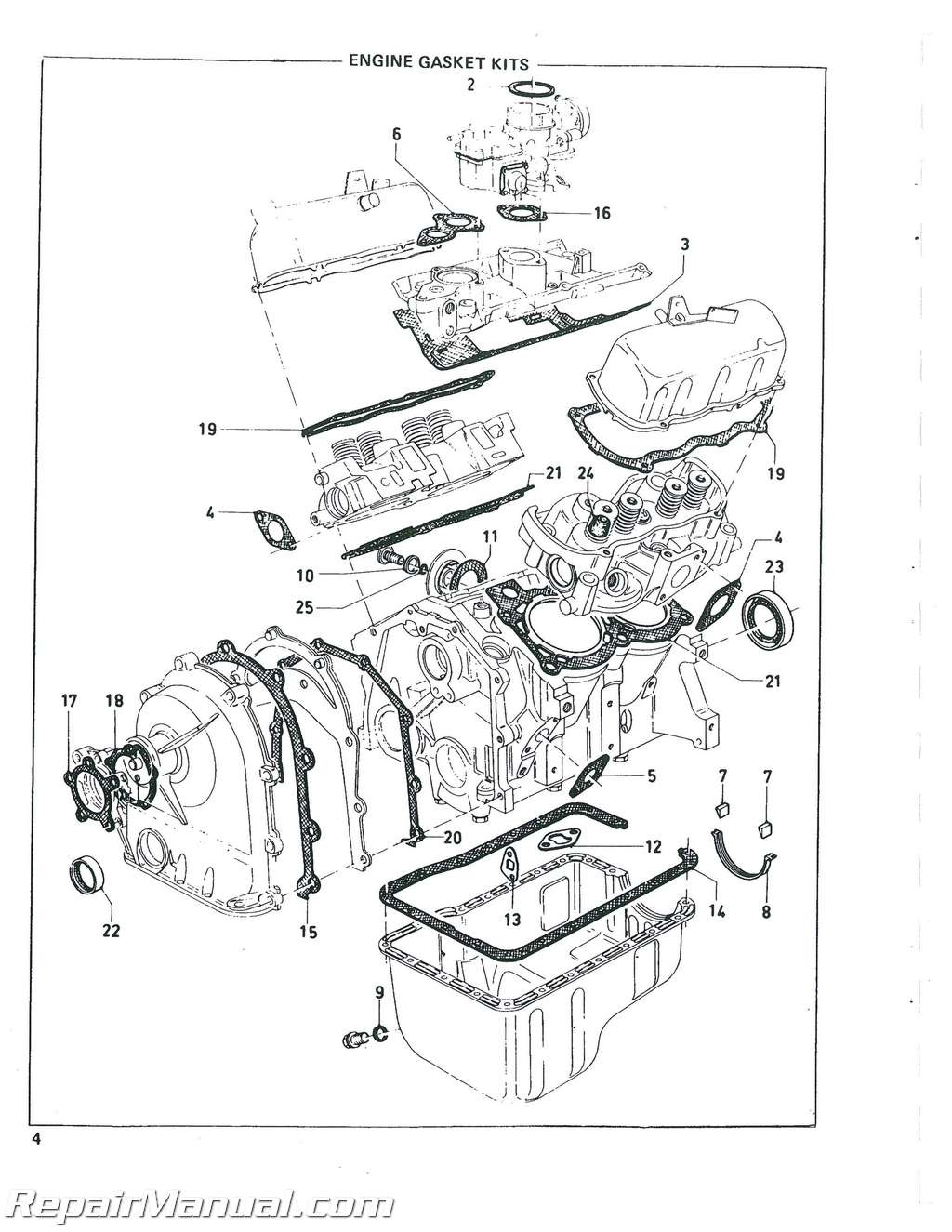 Ford Eng 104 V-4 Used in Various Skid Steers Parts Manual