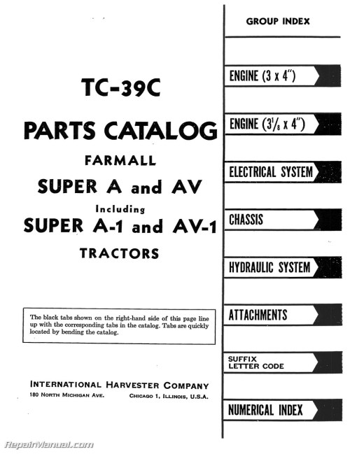 small resolution of farmall super a av a 1 av 1 tractor parts manual rh repairmanual com farmall super h parts diagram farmall h manual online