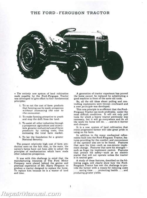 small resolution of ford 2n 9n tractor operators manual 1949 harry ferguson tractor wiring diagram