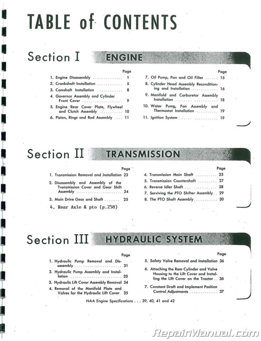 medium resolution of  array ford naa service manual rh repairmanual