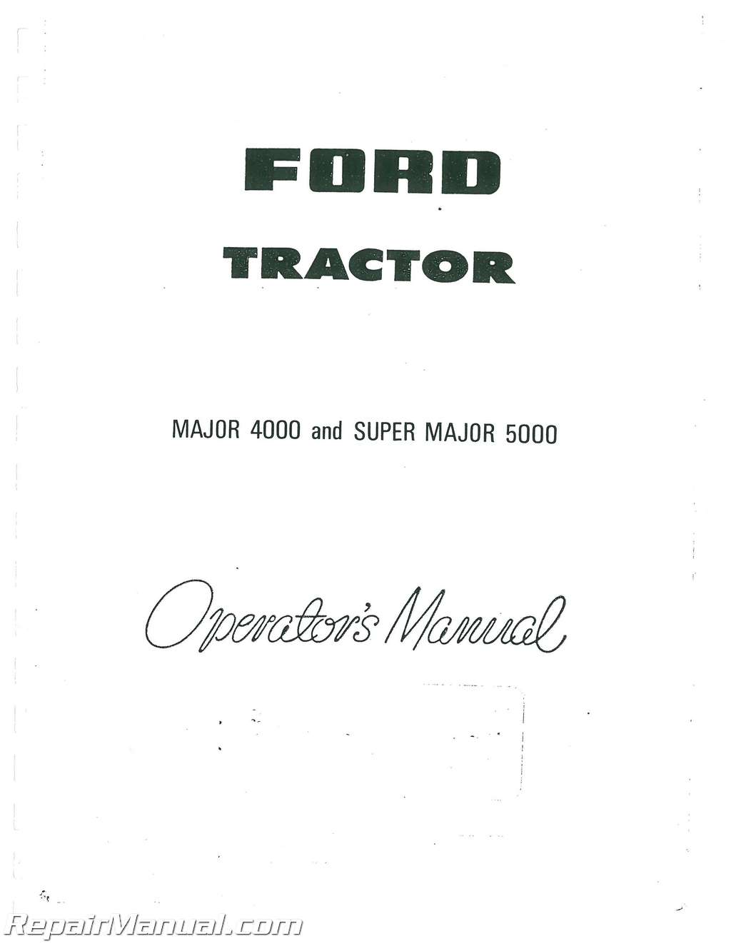 Fordson 5000 Super Major Operators Manual