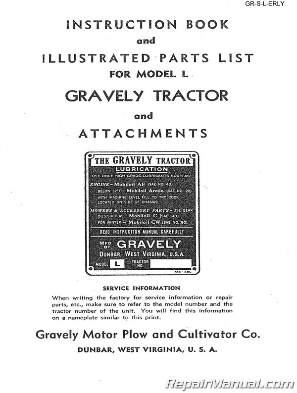 Gravely L Early Tractor Owners Manual and Parts Manual