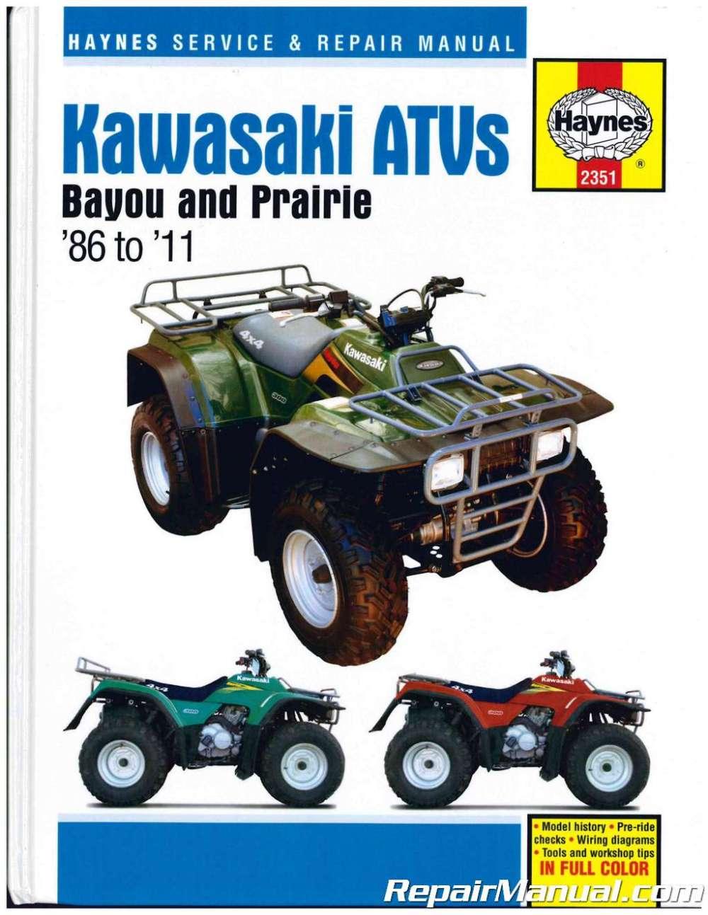 medium resolution of 1997 kawasaki prairie 400 4x4 repair manual