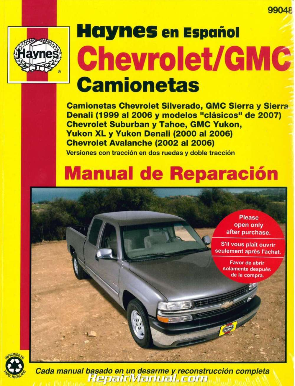 medium resolution of 1999 2007 chevrolet gmc pick ups suvs repair manual espanol spanish manual de automotriz