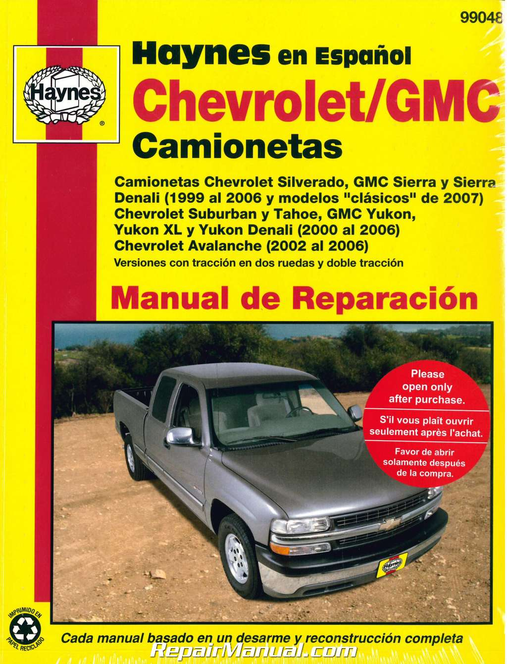 hight resolution of 1999 2007 chevrolet gmc pick ups suvs repair manual espanol spanish manual de automotriz