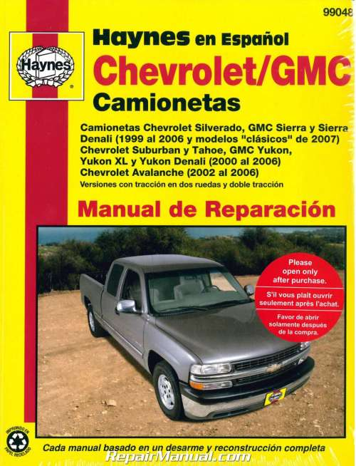 small resolution of 1999 2007 chevrolet gmc pick ups suvs repair manual espanol spanish manual de automotriz