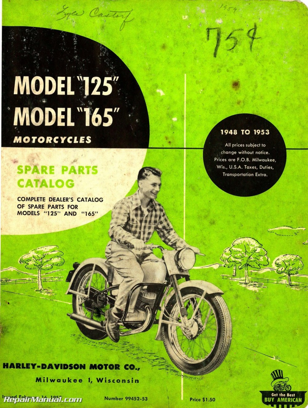 medium resolution of harley davidson 125 165 1948