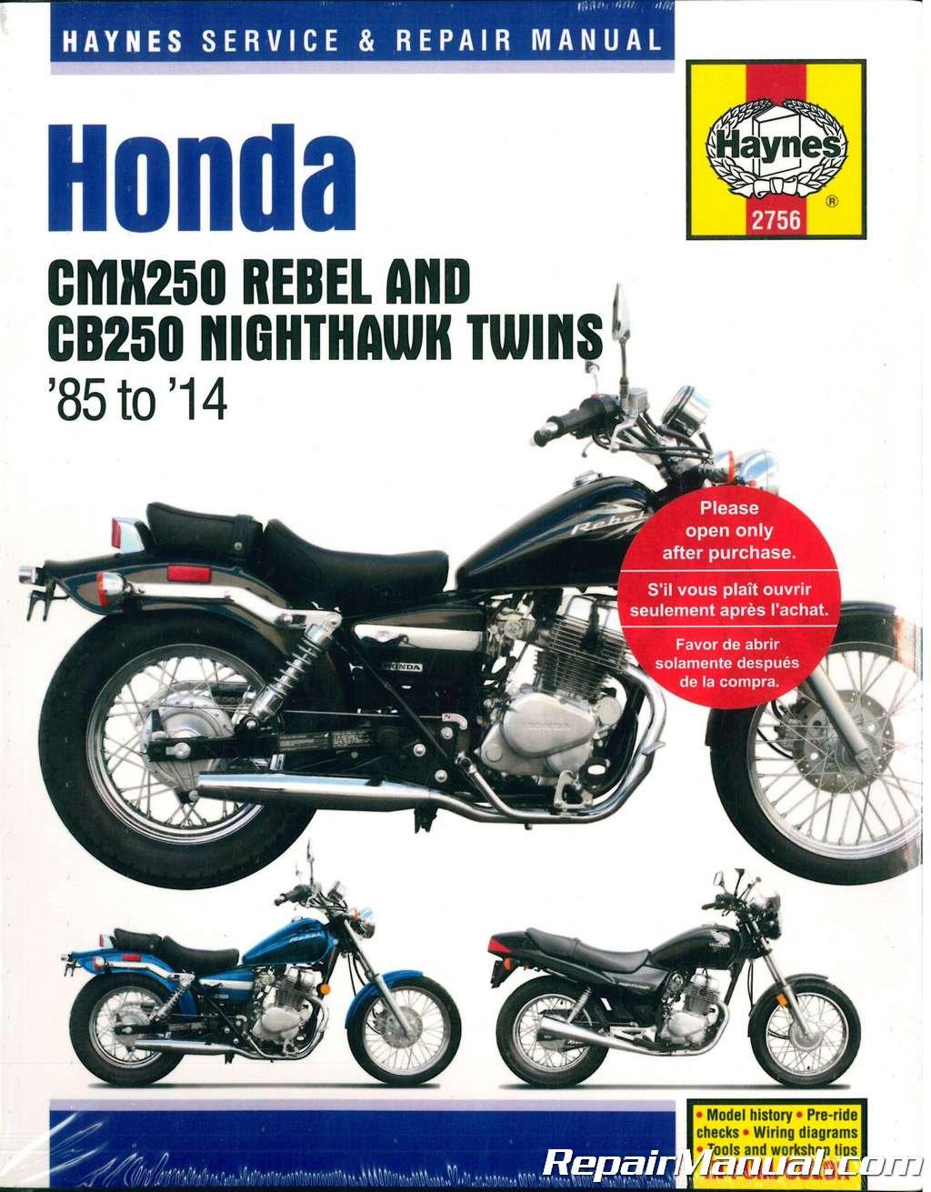hight resolution of haynes 1985 2014 honda cmx250 rebel cb250 nighthawk twins motorcycle service repair manual