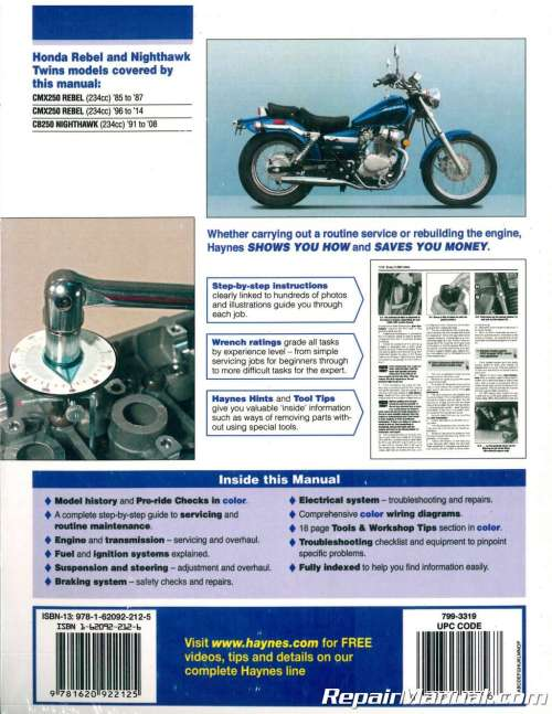 small resolution of haynes 1985 2014 honda cmx250 rebel cb250 nighthawk twins motorcycle service repair manual