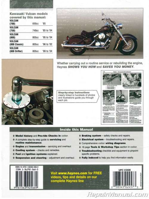 small resolution of haynes kawasaki vulcan 700 750 800 1985 2004 service manual 1992 kawasaki vulcan 1500 wiring diagram 2001 kawasaki vulcan 800 wiring diagram