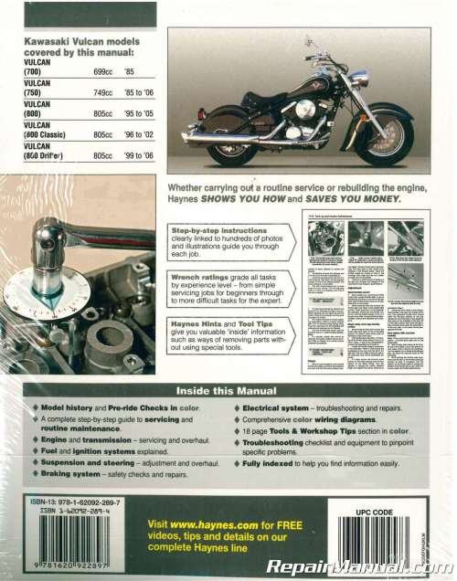 small resolution of haynes kawasaki vulcan 700 750 800 1985 2006 motorcycle service manual1996 kawasaki vulcan 800 wiring diagram