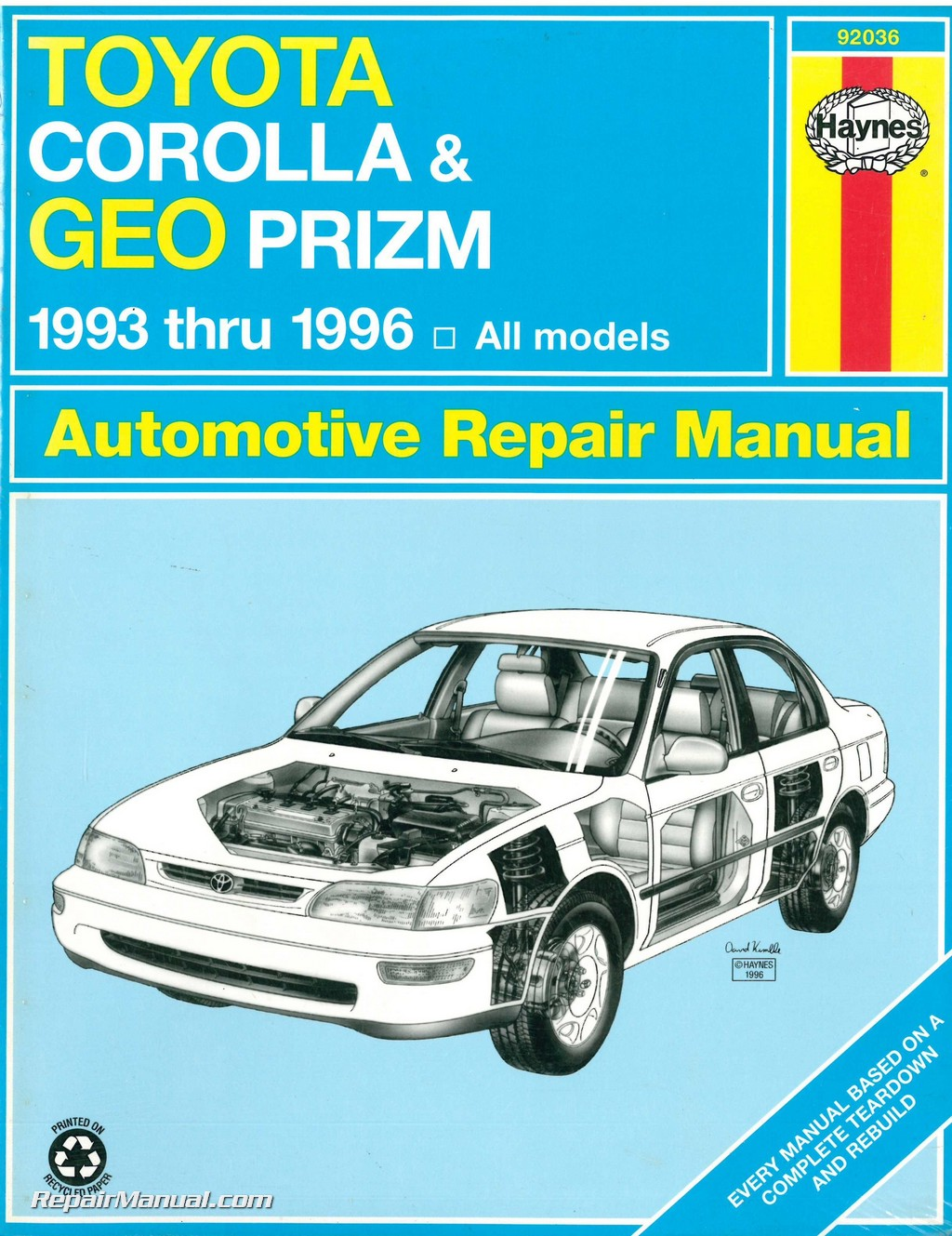 hight resolution of haynes toyota corolla geo chevrolet prism 1993 1996 auto repair manual