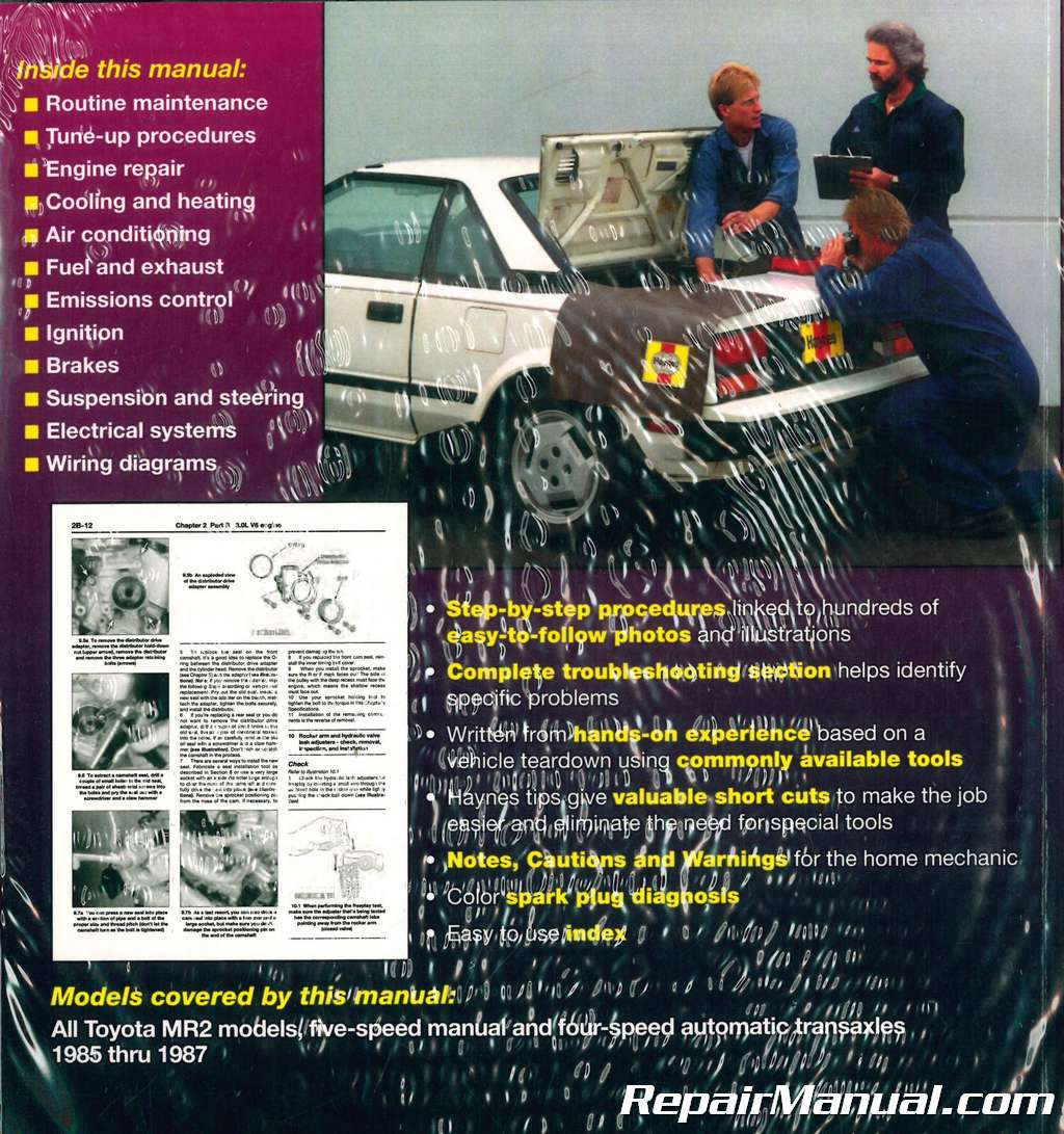 hight resolution of haynes toyota mr2 1985 1987 auto repair manual rh repairmanual com 1985 mr2 1992 mr2