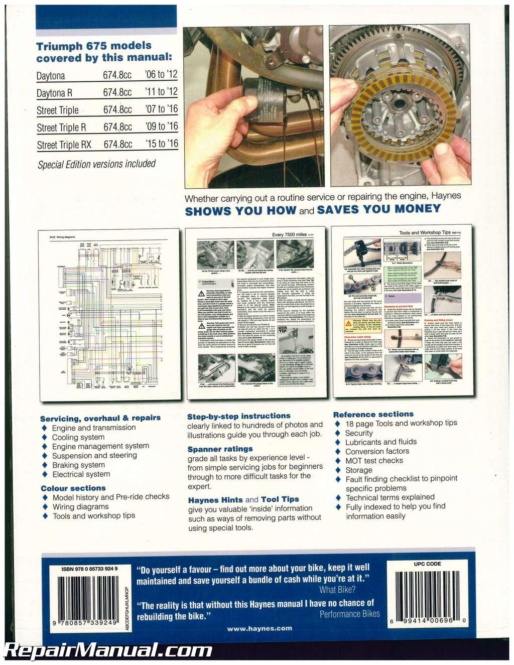 hight resolution of haynes triumph 675 daytona 2006 2012 street triple 2007 2016 motorcycle repair manual