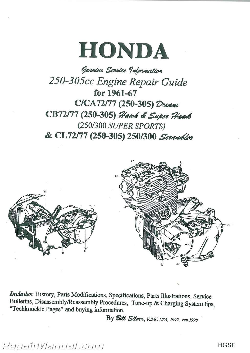 hight resolution of honda 250 305cc dream hawk super hawk motorcycle engine repair