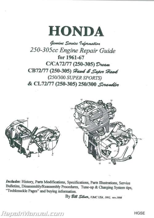 small resolution of honda 250 305cc dream hawk super hawk motorcycle engine repair