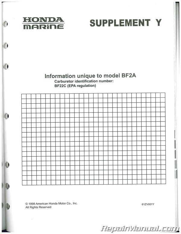 Honda BF20 BF2A Marine Shop Manual Second Edition