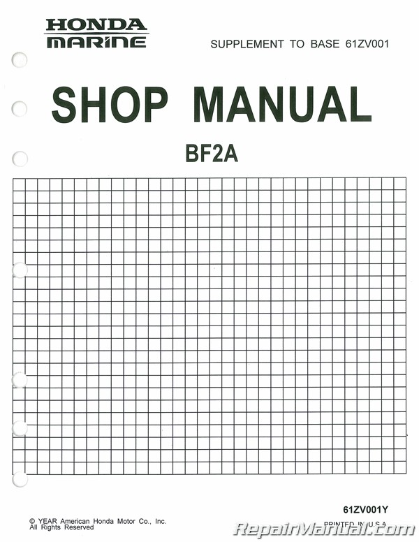 Honda BF20 BF2A Marine Shop Manual