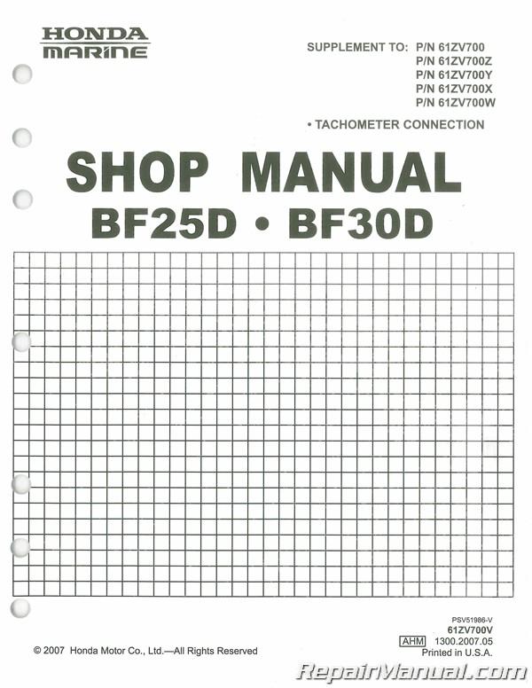 Honda BF25A 30A BF25D 30D Outboard Motor Marine Shop Manual