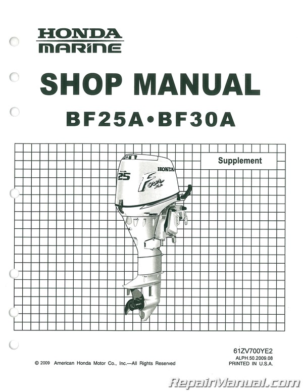 Honda BF25A Outboard Motor Marine Shop Manual Second Edition