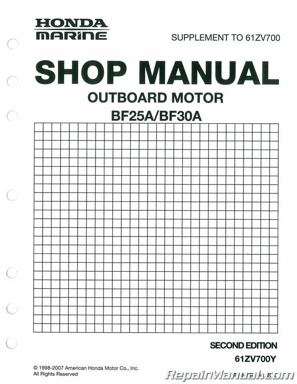 Honda BF25A Outboard Motor Marine Shop Manual