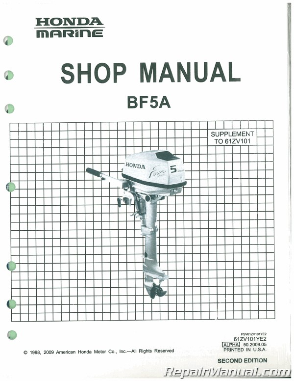 Honda BF50A BF5A Marine Shop Manual 61ZV101YE2