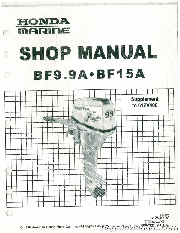 Honda BF9.9A BF15A Marine Marine Shop Manual