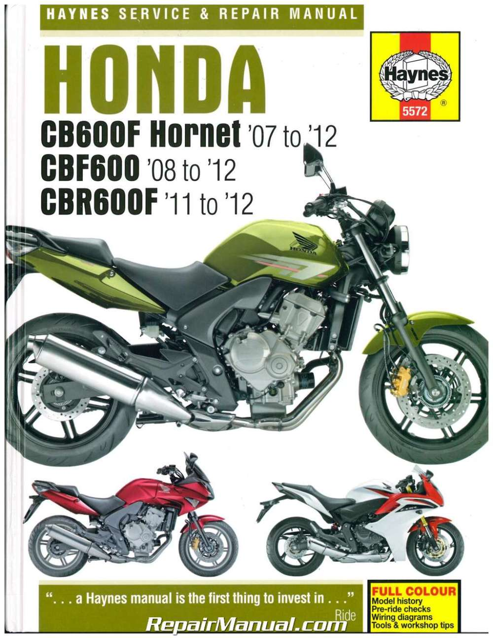 medium resolution of honda cb600f hornet cbf600 cbr600f 2007 2012 haynes repair manual