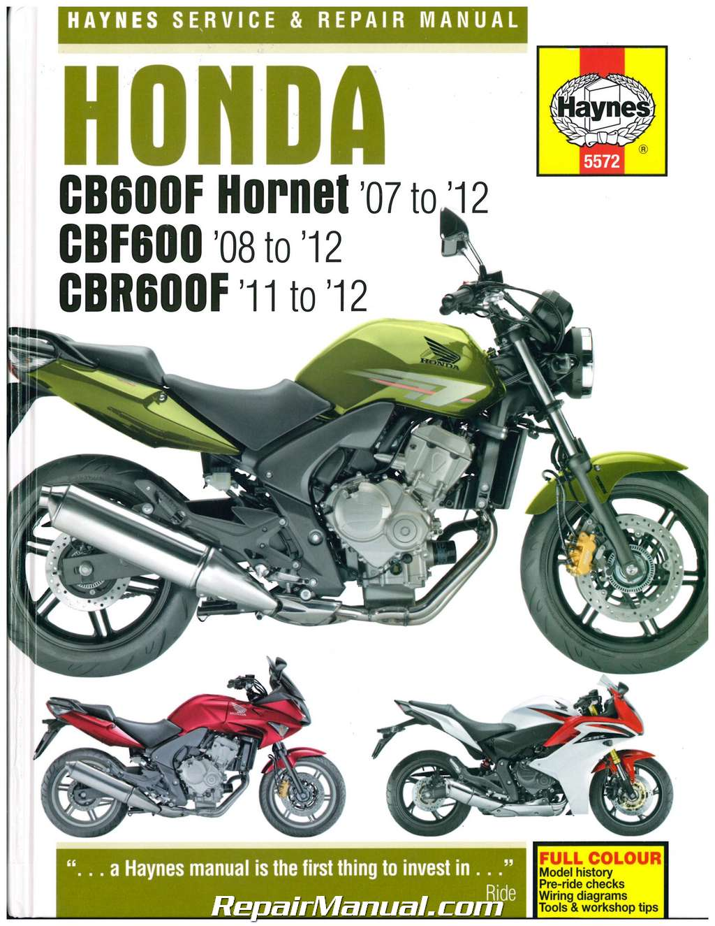 hight resolution of honda cb600f hornet cbf600 cbr600f 2007 2012 haynes repair manual
