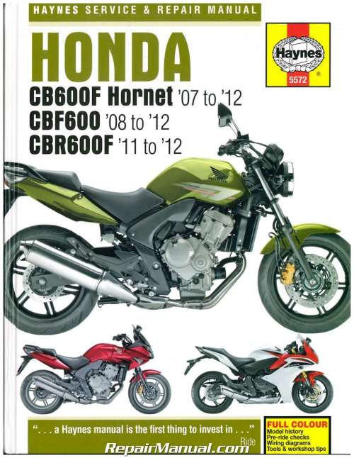 small resolution of honda cb600f hornet cbf600 cbr600f 2007 2012 haynes repair manual