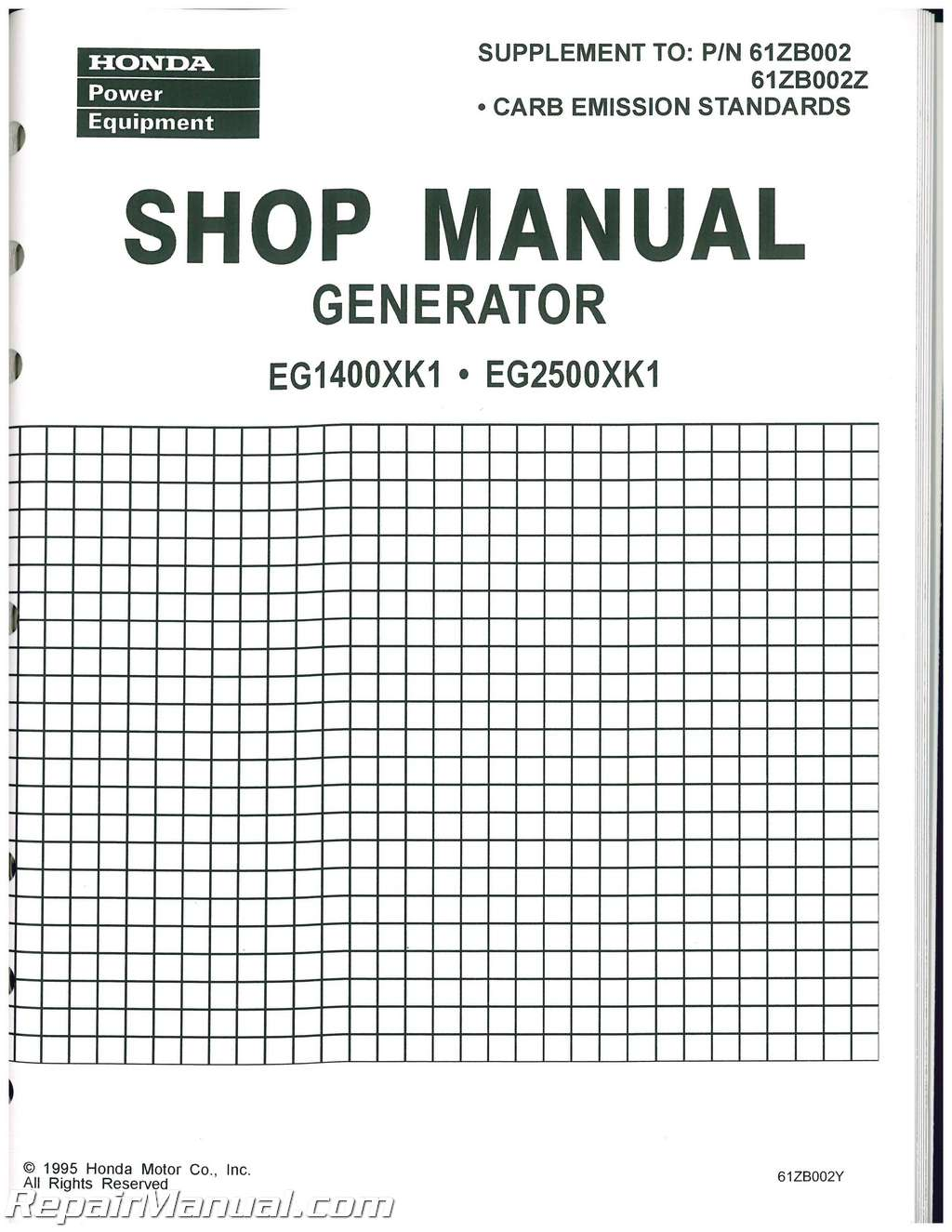 Honda EG1400X EG2200X And EG2500X Generator Shop Manual