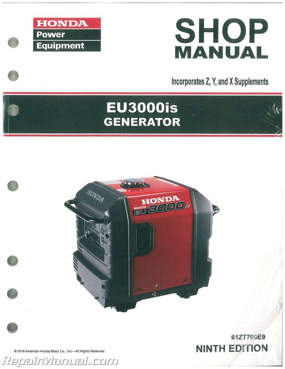 medium resolution of honda eu3000is generator shop manual