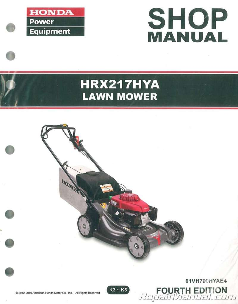 Honda Hrx217 Hya Lawn Mower Repair Service Manual