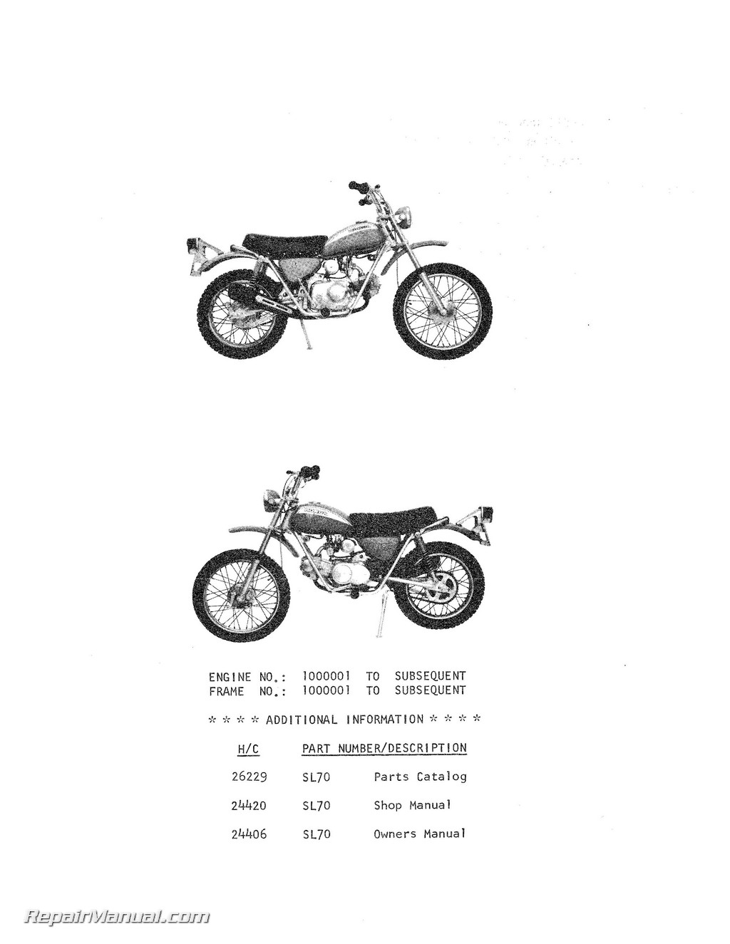 Honda SL70 Motorcycle Parts Manual