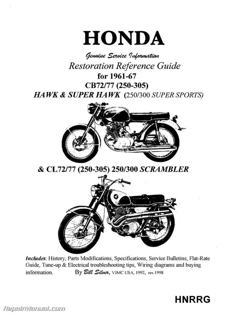 Honda Superhawk Scrambler Motorcycle Restoration Reference Guide