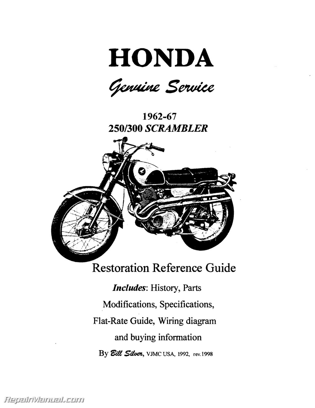 Honda SuperHawk Scrambler Motorcycle Restoration Reference