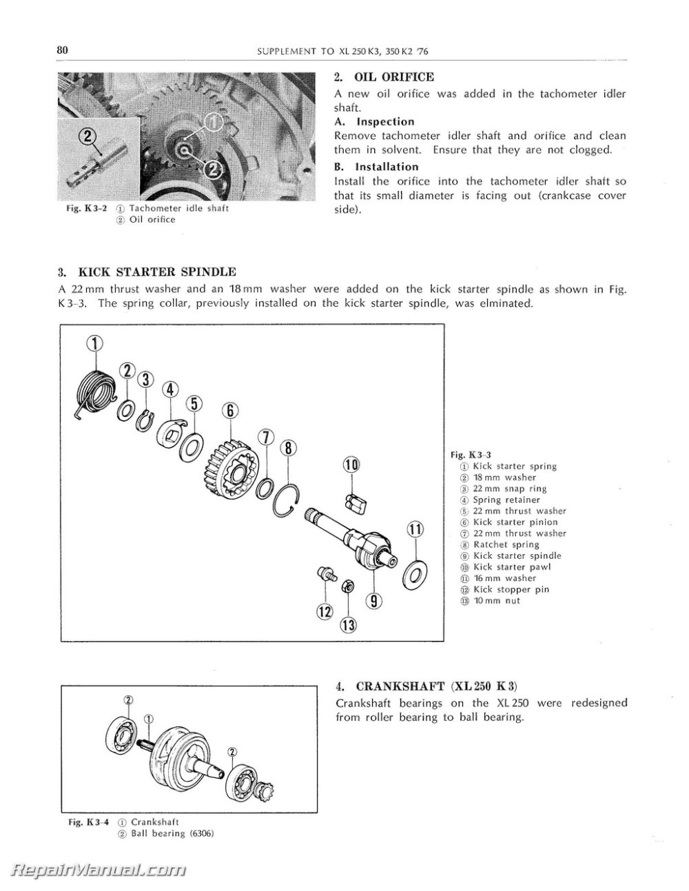 medium resolution of honda xl250 xl350 motorcycle service manual