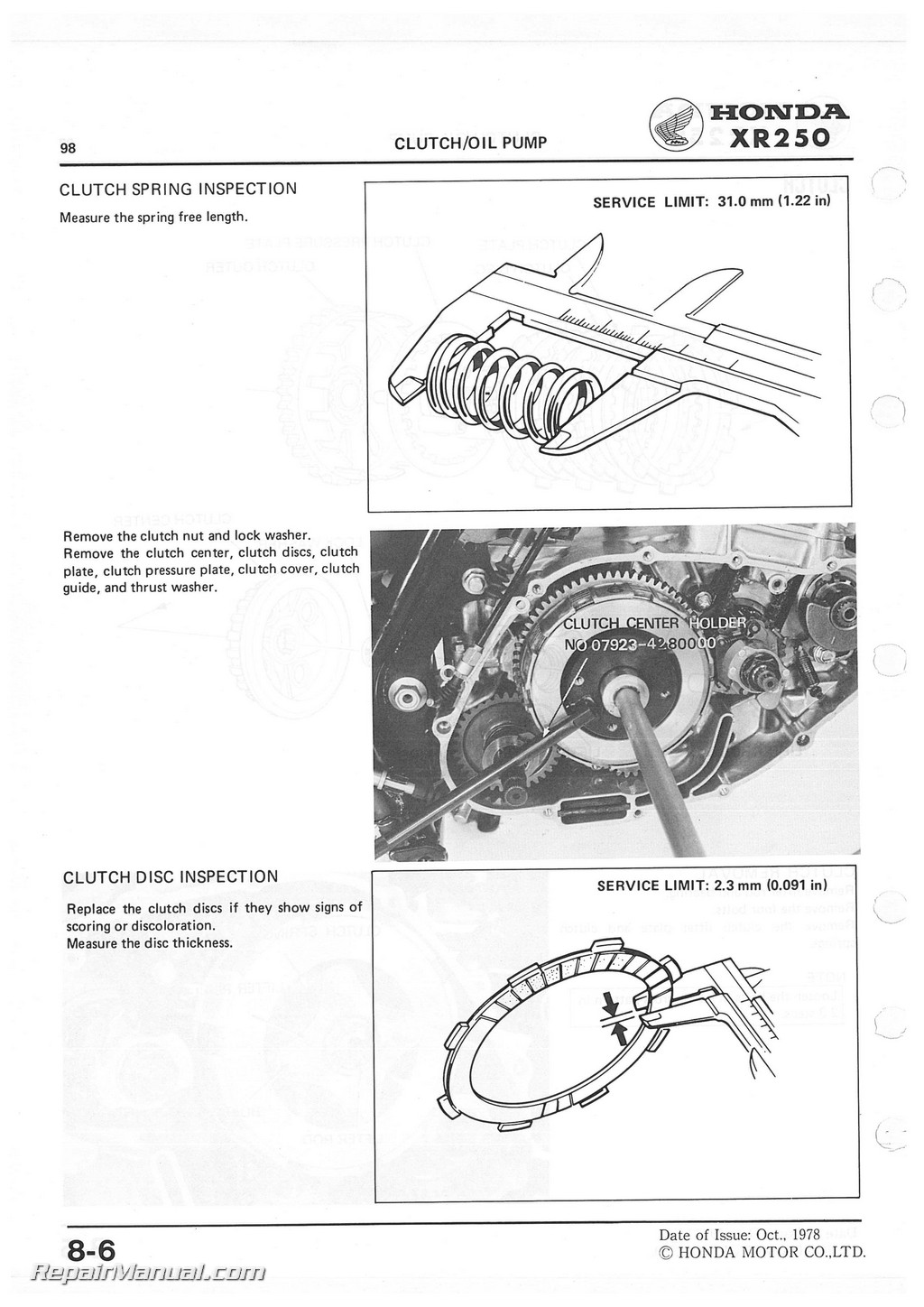 Honda XR250 1979-1980 Service Manual