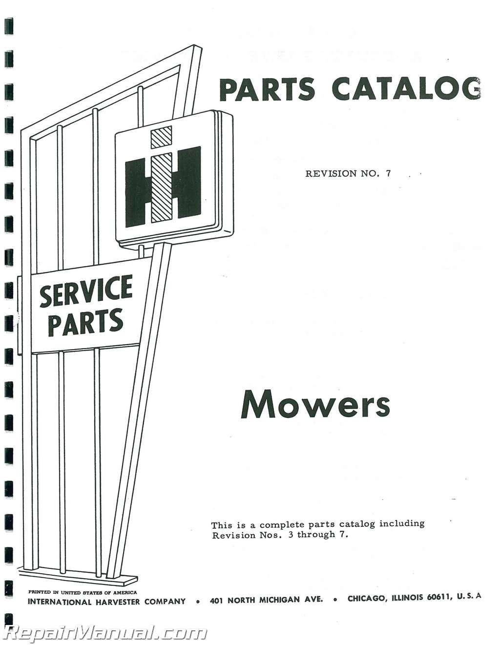 International Harvester 115 Balanced Head Mower Parts Manual