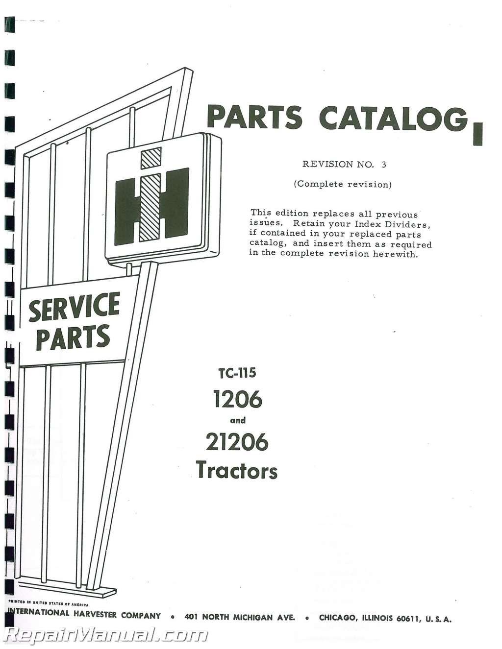 International Harvester 1206 And 21206 Diesel Parts Manual