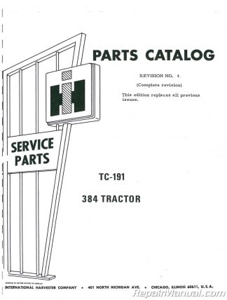 International Harvester 260-A Tractor Loader Backhoe Parts