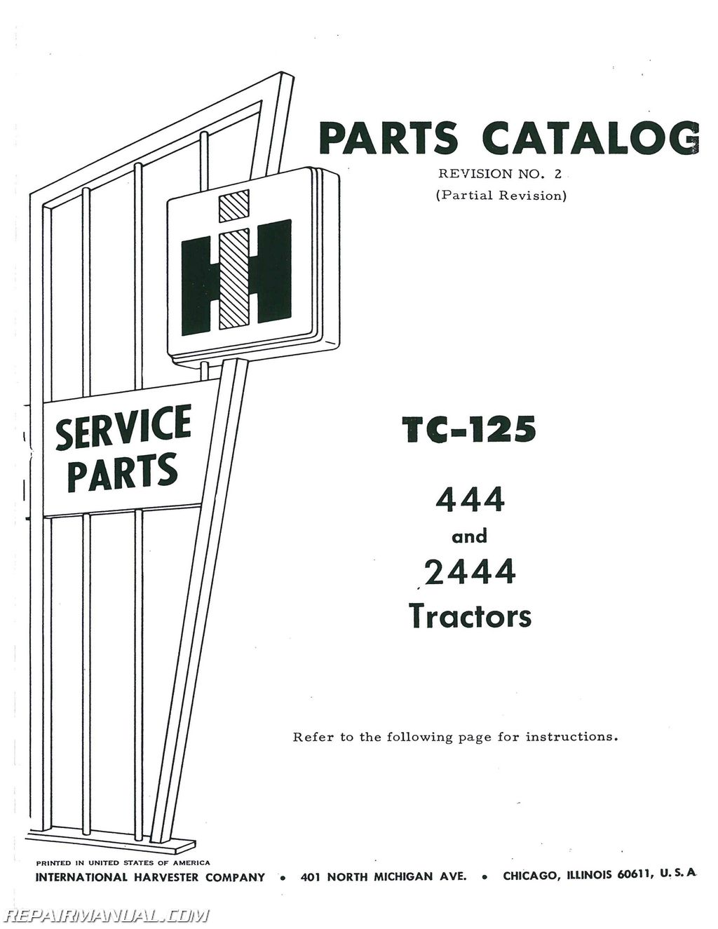 International Harvester 444 Gas Andsel Parts Manual
