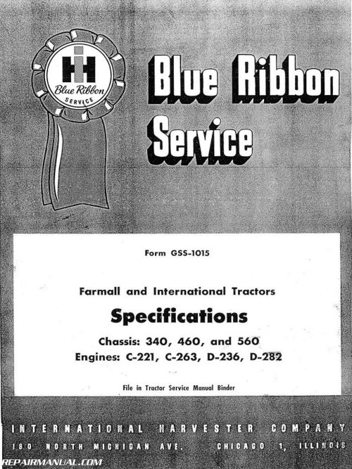 small resolution of international harvester 340 460 560 tractor service manual